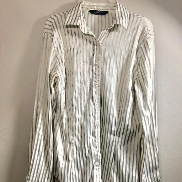 Zara Tops - Zara Basic Stripe long sleeve Button down Small